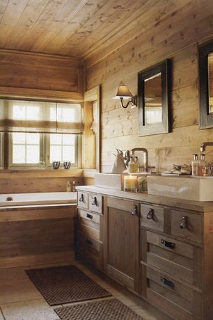 Country Master Bathroom with Vessel sink, Livex Mendham 5271 Wall Sconce, Bathtub, Wood vanity, Executive Black Wall Mirror