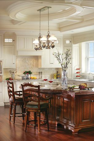 Traditional Kitchen with Exposed beam, Kitchen island, Undermount sink, Pendant light, Wood counters, Raised panel, L-shaped