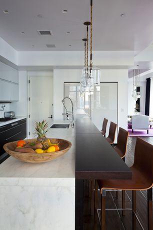 Contemporary Kitchen with Undermount sink, Complex Marble, Kitchen island, Complex marble counters, Custom hood, Flush
