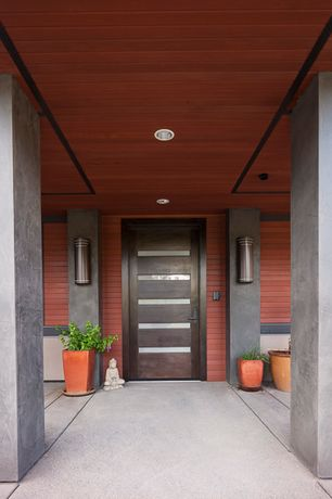 Contemporary Front Door with Custom Wood Glass Panel Exterior Door, Pathway, exterior tile floors