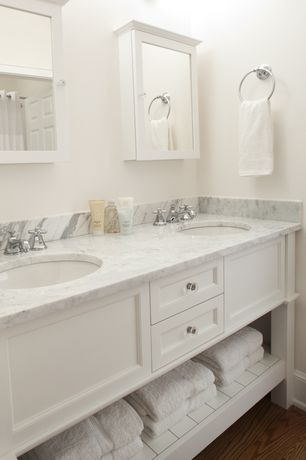 Cottage Master Bathroom with Undermount sink, Mirrored medicine cabinet, Marble vanity top, Flat panel cabinets, Double sink
