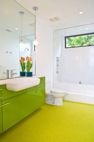 Contemporary Full Bathroom with WS Bath Collections Whitestones Peta Wall Mounted Bathroom Sink, tiled wall showerbath, Flush