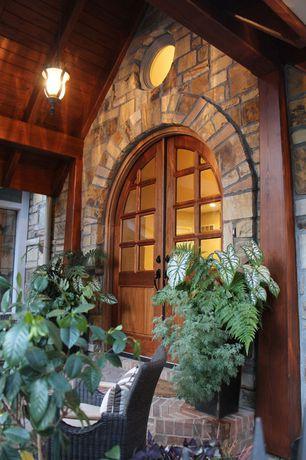 Craftsman Front Door with Glass panel door, exterior brick floors