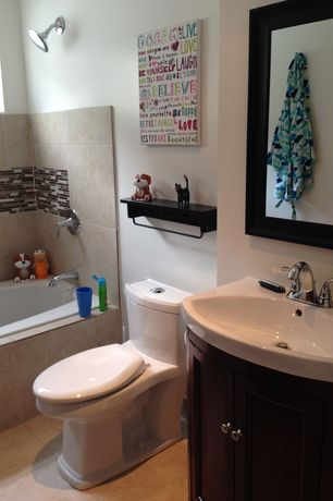 Traditional Full Bathroom with Undermount sink, Flush, Kids bathroom, tiled wall showerbath, Flat panel cabinets
