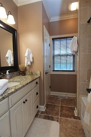 Traditional Full Bathroom with Complex granite counters, slate tile floors, MS International Giallo Ornamental Granite Slab