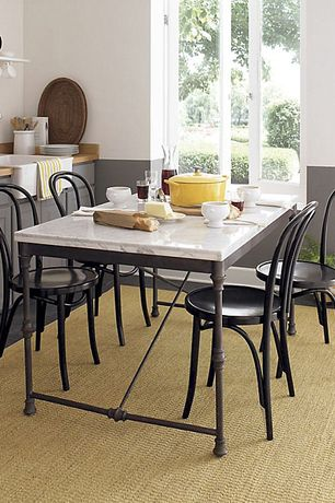 """Cottage Dining Room with Vienna Black Side Chair and Cushion, High ceiling, Alfi brand 23.5"""" x 16"""" farmhouse kitchen sink"""