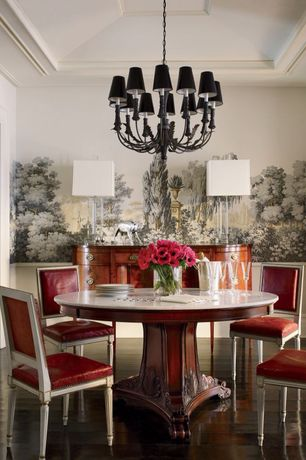 Contemporary Dining Room with interior wallpaper, Chandelier, Box ceiling, Chair rail, Hardwood floors, Standard height
