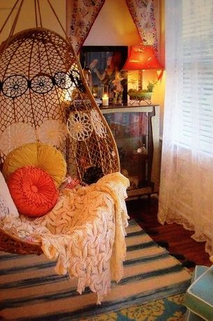Eclectic Master Bedroom with Christopher Knight Home 14-inch Round Ivory Sateen Pillow, Knotted melati hanging chair
