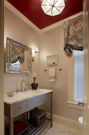 Contemporary Powder Room with Complex marble counters, European Cabinets, Powder room, flush light, Flush, Console sink