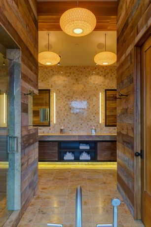 Eclectic Master Bathroom with European Cabinets, Flush, Limestone counters, linen and towel storage cabinet, Double sink