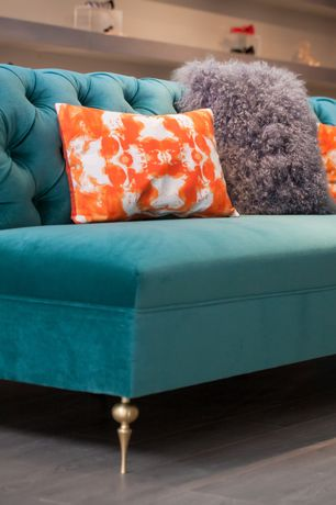 Contemporary Living Room with Grey stained oak flooring, Tie dye pillow, Custom upholstered armless tufted sofa