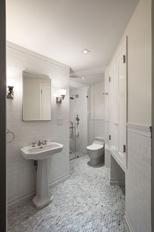 Traditional 3/4 Bathroom with Chair rail, Crown molding, Wall Tiles, Wall sconce, frameless showerdoor, Pedestal sink, Shower