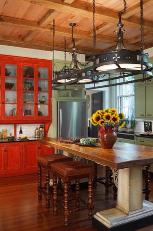 Kitchen with Inset cabinets, Box ceiling, Glass panel, Subway Tile, double-hung window, Pendant light, Built In Refrigerator