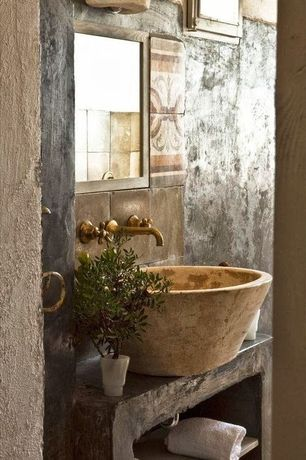 Rustic Powder Room with High ceiling