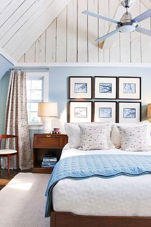 Cottage Master Bedroom with double-hung window, Ceiling fan, Crown molding, Hardwood floors, Standard height