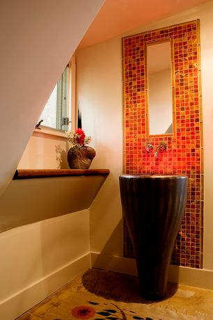 Modern Powder Room with Paint 1, specialty window, Powder room, Standard height, Daltile egyptian glass garnet gallery