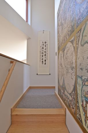 Asian Staircase with Hardwood floors, specialty window, curved staircase, High ceiling, Mural