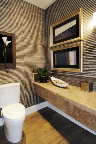 Contemporary Powder Room with Sandstone counters, Powder room, Subway Tile, Textures 3d wall covering, Wall sconce