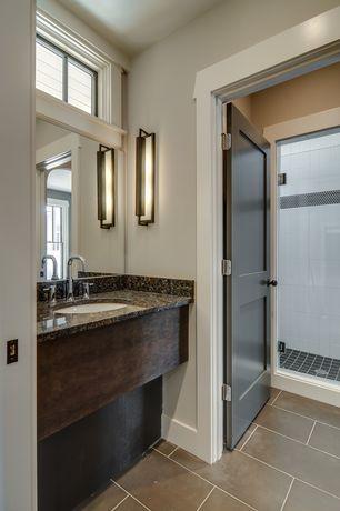 Traditional 3/4 Bathroom with full backsplash, Shower, specialty door, Florim Urban Landscapes - chelsea, stone tile floors