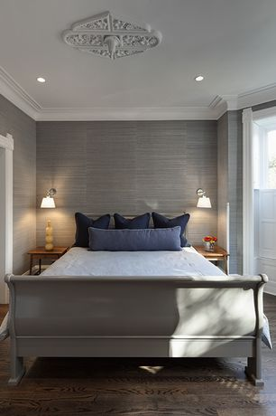 Contemporary Master Bedroom with Grasscloth wallcovering, Laminate floors, bedroom reading light, Crown molding, Paint