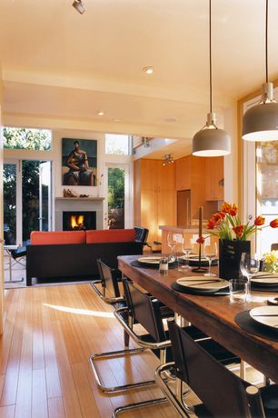 Contemporary Dining Room with Laminate floors, Pendant light, French doors
