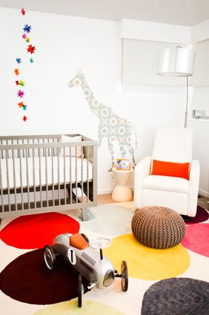 Contemporary Kids Bedroom with Little castle rey glider, Suzanne sharp smarties rug, Mural, no bedroom feature, Carpet