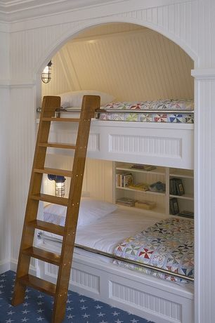 Cottage Kids Bedroom with Ashley Cooper Windmill Print, Colony Rug Company Colony Stars, Bunk beds, Carpet, Crown molding