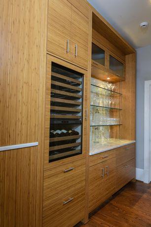 Contemporary Bar with Built-in bookshelf, Hardwood floors