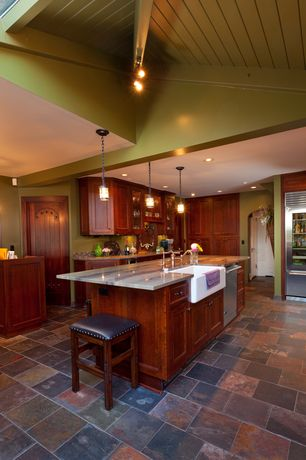 Craftsman Kitchen with specialty door, Flat panel cabinets, Farmhouse sink, U-shaped, High ceiling, Exposed beam, Flush
