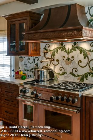 Traditional Kitchen with Wolfe - 6 burner + griddle, double oven, interior wallpaper, full backsplash, Custom hood, One-wall