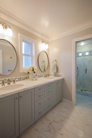 Traditional Master Bathroom with Paint 1, Penny Tile, Double sink, Shower, Casement, Uttermost Sherise Beaded Mirror, Flush