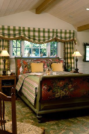 Country Master Bedroom with Carpet, Exposed beam