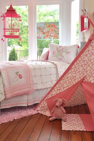 Country Kids Bedroom with Hardwood floors, Oak flooring, picture window, Chandelier, Standard height, Pink mini dot teepee