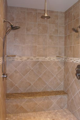 Traditional Master Bathroom with Daltile cremona caffe mosaic sl82, Ms international almond gold granite