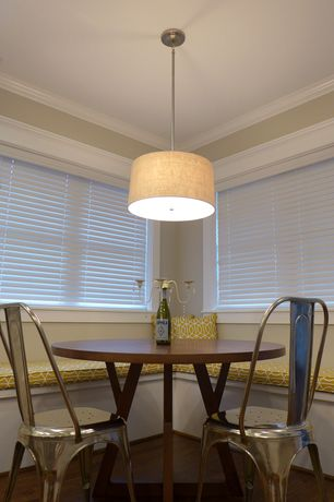 Contemporary Dining Room with Pendant light, Adesso Adesso 4001-12 Natural Harvest 1 Light Drum Pendant, Crown molding