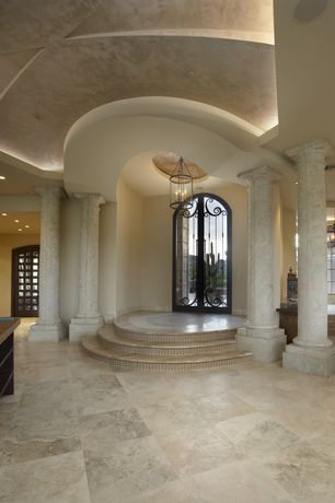 Mediterranean Entryway with Columns, High ceiling, Florim Ethos Glazed Porcelain Stoneware, French doors, Chandelier