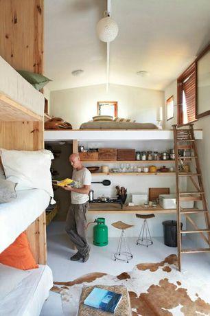 room with High ceiling, Casement, flush light, Concrete floors, Exposed beam, Built-in bookshelf, Loft, Pendant light