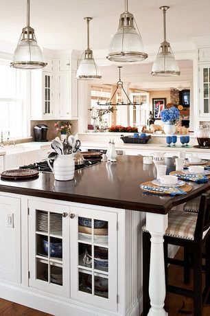Traditional Kitchen with Currey & Company Houndslow Rectangular Chandelier, Crown molding, L-shaped, European Cabinets