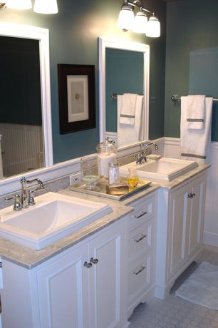 Cottage Full Bathroom with Wainscotting, Simple Granite, Hexagonal and square tile pattern, penny tile floors, Full Bath