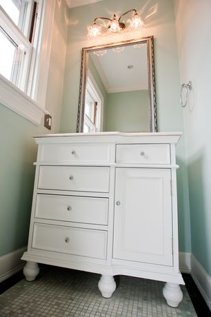 Traditional Powder Room with Flat panel cabinets, Haverhill Silver Wall Mirror - 32W x 44H in., ceramic tile floors
