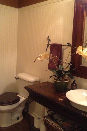 Traditional Powder Room with Vessel sink, Diy bathroom vanity from sofa table, Hardwood floors, Powder room, Wood counters