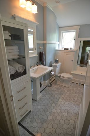 "Traditional Full Bathroom with Raised panel, Carrara (carrera) bianco honed 3"" hexagon marble mosaic tile, High ceiling"