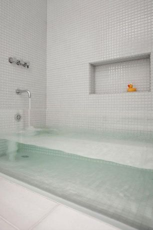 """Contemporary Full Bathroom with Ultra-thin glass bathtub, Daltile color wave 1"""" x 1"""" - ice white mosaic, High ceiling, Jetted"""