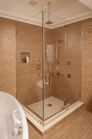 Contemporary Master Bathroom with Rain shower, Handheld showerhead, Freestanding, High ceiling, frameless showerdoor