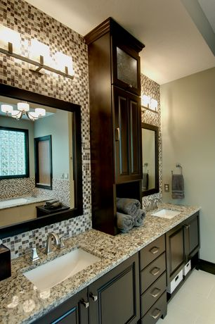 Traditional Master Bathroom with Dolante 3 Light Vanity Light by Eurofase, Flush, Undermount sink, Ceramic Tile, flush light