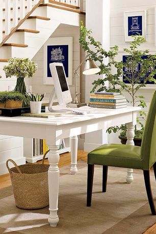 Cottage Home Office with Mason Dining Chair Avocado, Standard height, Paint, Henley Rug Ivory, Hardwood floors