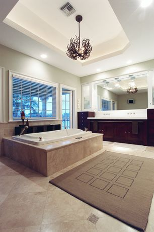 Contemporary Master Bathroom with Paint, Concrete tile , Chandelier, French doors, picture window, Built-in bookshelf