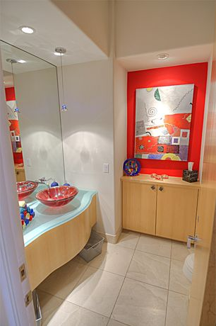 Modern Powder Room with European Cabinets, High ceiling, Glass counters, Flush, Kids bathroom, Pendant light, Vessel sink