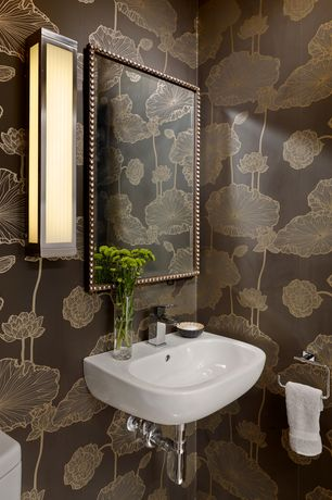 Powder Room with interior wallpaper, Undermount bathroom sink, Standard height, Powder room, Wall sconce