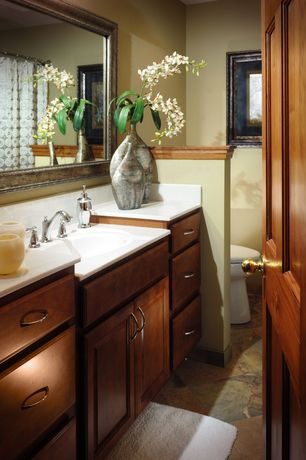 Craftsman Master Bathroom with Ms international multi color 12 in. x 12 in. gauged slate floor and wall tile, Raised panel